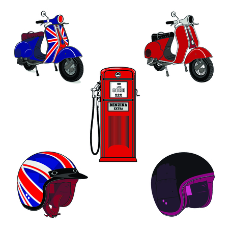 Vectorset illustration of vintage scooter, gas stations and motorcycle helmet. Emblems and label. Scooter popular means of transport in a modern city. Isolated on a white background