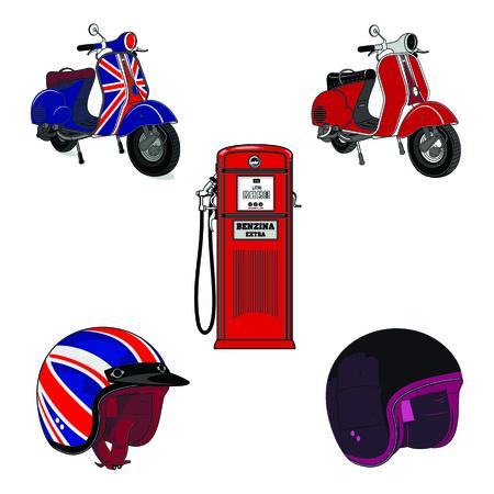 Vectorset ilustración de vintage scooter, estaciones de servicio y casco de la motocicleta. Emblemas y etiqueta. Scooter medios de transporte populares en una ciudad moderna. Aislado en un fondo blanco