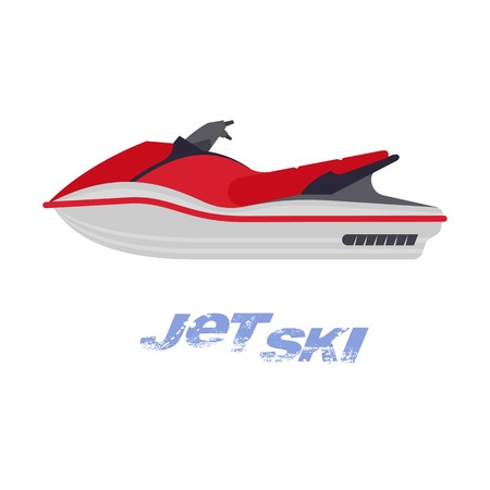 Vector flat illustration of jet ski. Summer rest. Sea vacation. Web graphics, banners, brochures, business templates. Illustration isolated on white background. Vectores