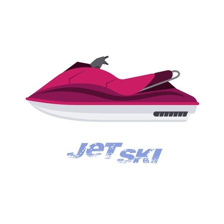 Vector illustration plate de jet ski. Repas d'été. Vacances en mer. Graphiques Web, bannières, brochures, modèles d'entreprise. Illustration isolée sur fond blanc.