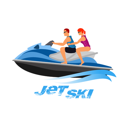 Vector flat illustration man and girl of jet ski. Summer rest. Sea vacation. Web graphics, banners, brochures, business templates. Illustration isolated on white background.