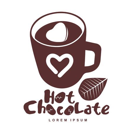 Vector logo sjabloon warme chocolade. Warme cacao, marshmallow. Vector sjabloon voor visitekaartje, poster, banner, ontwerpelementen voor cafe, koffiewinkel. Geïsoleerd op een witte achtergrond.