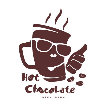 Vector logo template hot chocolate. Hot cocoa, marshmallow. Vector template for business card, poster, banner, design elements for cafe, coffee shop. Isolated on white background.
