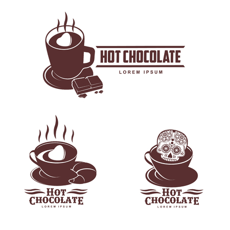 Vector set logo template hot chocolate. Hot cocoa, marshmallow. Vector template for business card, poster, banner, design elements for cafe, coffee shop. Isolated on white background. Illustration