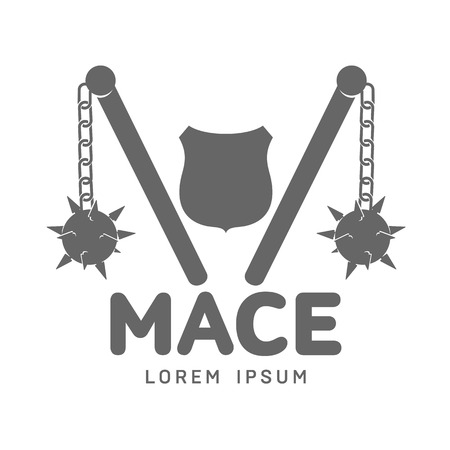 Abstract vector mace label and logo template. War symbol. Silhouettes of medieval guns. Template for business card, poster, banner, design elements. Isolated on white background. Illustration
