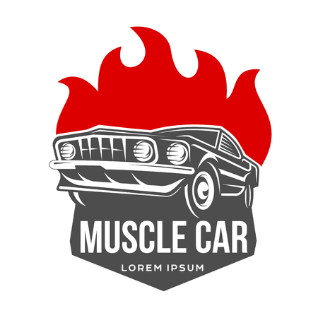 Abstract Vector Muscle Car Label And Logo Template Retro Car