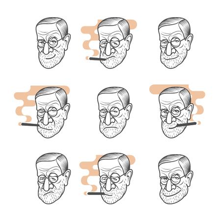 Vector set cartoon caricature portrait of Sigmund Freud.