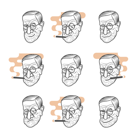 philately: Vector set cartoon caricature portrait of Sigmund Freud. Vector template for business card, poster, banner, design elements for psychology, psychiatry club. Isolated on white background. Illustration