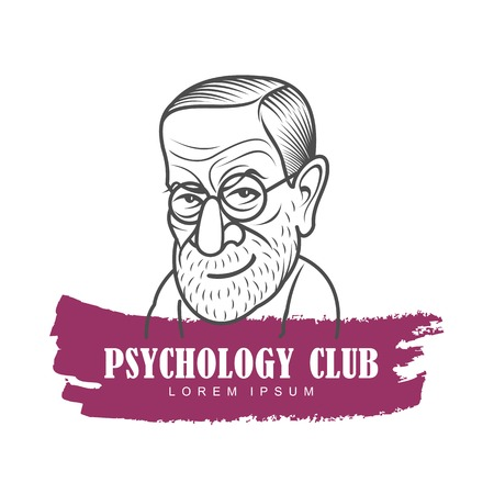 Vector cartoon caricature portrait of Sigmund Freud. Vector template for business card, poster, banner, design elements for psychology, psychiatry club. Isolated on white background. Illustration