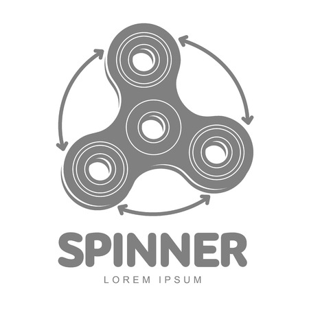 Hand spinner vector logo template for your design. Hand spinner tricks badges, labels, banners, advertisements, brochures, business templates. Vector illustration isolated on white background Vectores