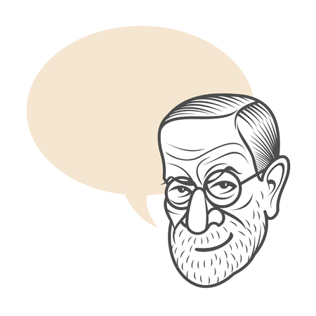 Vector cartoon caricature portrait of Sigmund Freud. Vector template for business card, poster, banner, design elements for psychology, psychiatry club. Illustration on background with place for text.