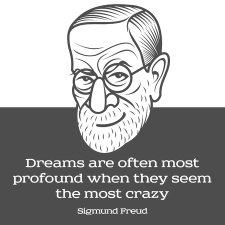 Vector cartoon caricature portrait of Sigmund Freud. Vector template for business card, poster, banner, design elements for psychology, psychiatry club. Illustration on background with quote.