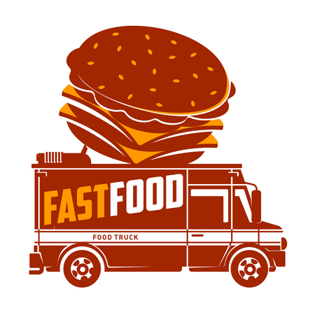 Food truck hamburger logo vector illustration. Vintage style labels design concept for food delivery service vehicles. Two colors logo templates for your design. Isolated on a white background Ilustração