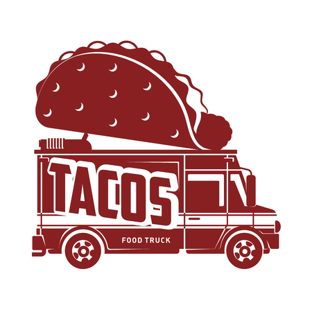 Food truck tacos logo vector illustration. Vintage style badges and labels design concept for food delivery service vehicles. Two colors logo templates for your design. Isolated on a white background