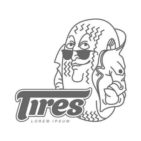 ベクトル漫画似顔絵文字タイヤのロゴのテンプレート。文字ホイールの問題を心配しています。名刺、ポスター、バナー、デザイン要素のベクトル