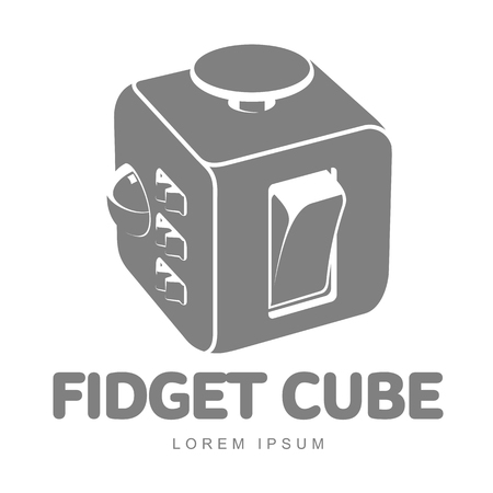 reliever: Fidget cube vector logo template. Fidget cube tricks. Badges, labels, banners, advertisements, brochures, business templates. Vector illustration isolated on white background Illustration