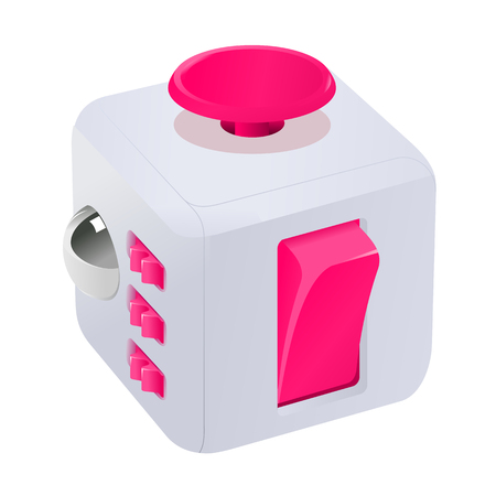 clicker: Fidget cube vector illustration. Fidget cube tricks. Badges, labels, banners, advertisements, brochures, business templates. Vector illustration isolated on white background Illustration