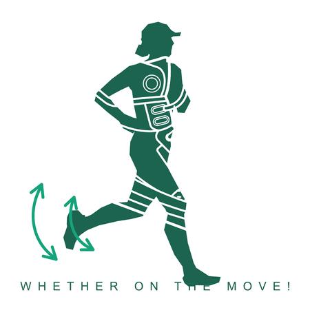 Vektor-Illustration der Silhouette eines Athleten und Sneakers. Sportschuhe und Läufer. Anzeigen, Broschüren, Geschäftsvorlagen. Isoliert auf weißem Hintergrund Standard-Bild - 77926701