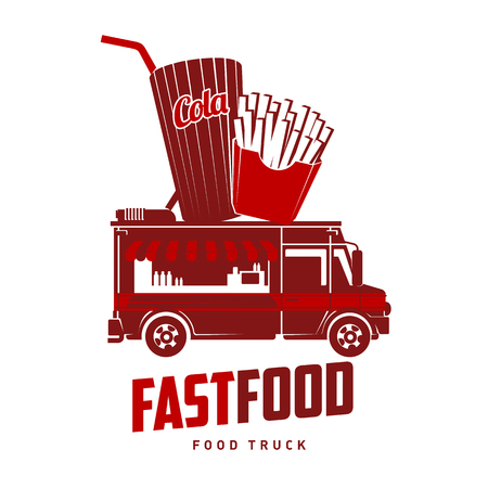 Fast food foodtruck logo vector illustration. Badges and labels design concept for american fast food. Cola and french fries. Two colors logo templates for your design. Isolated on a white background Illustration