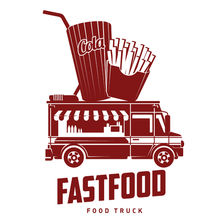 Fast food food truck logo vector illustration. Badges and labels design concept for american fast food. Cola and french fries. Illustration