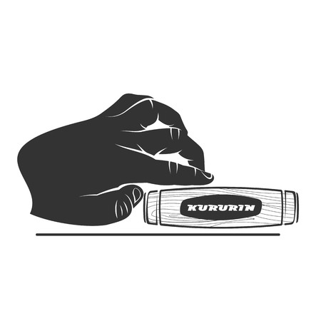japanese ethnicity: Kururin logo vector illustration. Traditional Japanese hand toy kururin. Hand tricks. Badges, labels, banners, brochures, business templates. Vector illustration isolated on white background Illustration