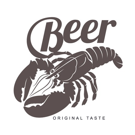 Vector vintage logo template lobster bar. Sea food, craft beer, alcohol, ale, brewery, bar, shop emblems and label. Branding identity corporate logo design template. Isolated on a white background