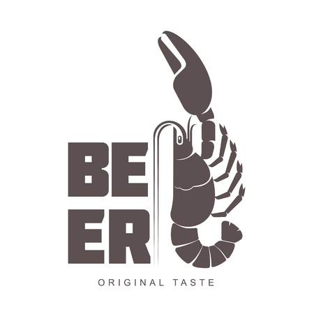 beers: Vector vintage logo template lobster bar. Sea food, craft beer, alcohol, ale, brewery, bar, shop emblems and label. Branding identity corporate logo design template. Isolated on a white background