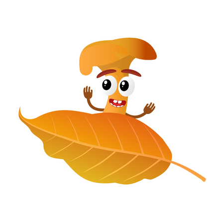 Funny mushroom chanterelle character, mascot, cartoon vector illustration isolated on white background. Humanized, childish mushroom with smiling faces, arms and legs. Autumn, fallen leaves, dry grass.