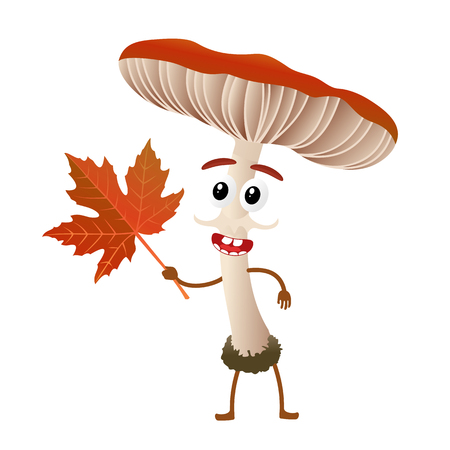 Funny mushroom russule character, mascot, cartoon vector illustration isolated on white background. Humanized, childish mushroom with smiling faces, arms and legs. Autumn, fallen leaves, dry grass.