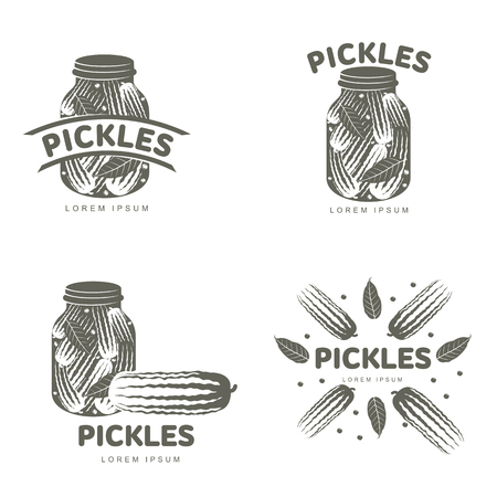 Pickles logo set for your design. Home canning, glass jar, pickle, cucumber, marinade, black peppercorn, bay leaf, brine. Pickles badges, labels. Vector illustration isolated on white background
