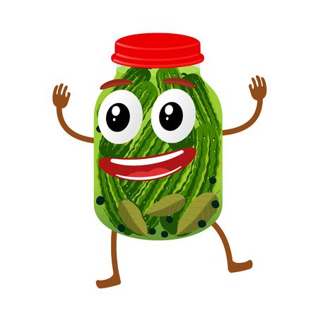 Funny pickles glass jar character, cartoon vector illustration