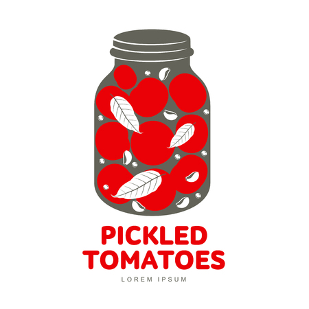 preserved: Pickled tomatoes glass jar logo for your design. Home canning, tomatoes, marinade, black peppercorn, bay leaf, brine. Pickled tomatoes badges, labels. Vector illustration isolated on white background Illustration