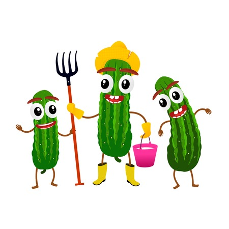 Funny cucumber character, cartoon vector illustration isolated on white background. Humanized cucumber with smiling faces, arms and legs. Cucumber for farm market, vegetarian salad recipe design. Vetores