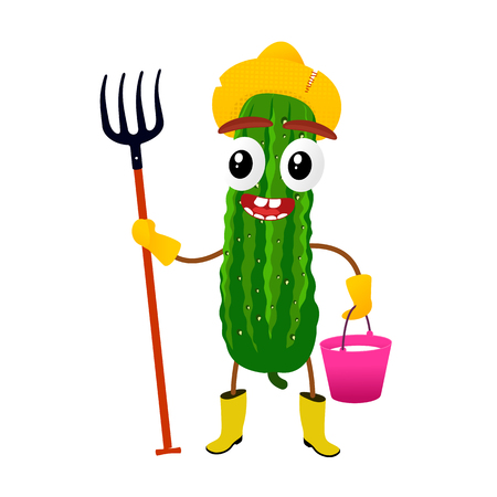 Funny cucumber character, cartoon vector illustration isolated on white background. Humanized cucumber with smiling faces, arms and legs. Cucumber for farm market, vegetarian salad recipe design.