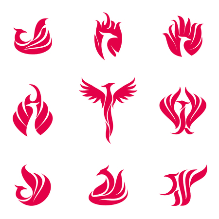 Set of stylized graphic phoenix bird logo templates. Collection of creative phoenix bird logotype templates, growth, development, power concept. Vector illustration isolated on white background.