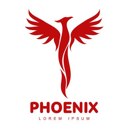 定型化されたグラフィック フェニックス鳥のロゴのテンプレート。クリエイティブ フェニックス鳥のロゴのテンプレート、成長、開発、力の概念の