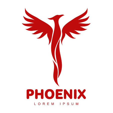 Stylized graphic phoenix bird logo templates. Collection of creative phoenix bird logotype templates, growth, development, power concept. Vector illustration isolated on white background. Stock Vector - 88069748