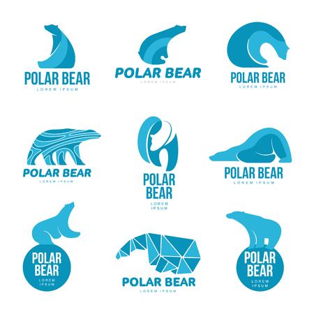 Set van gestileerde grafische ijsbeer logo sjablonen. Verzameling van creatieve ijsbeer logo sjablonen, groei, ontwikkeling, macht concept. Vectorillustratie geïsoleerd op witte achtergrond