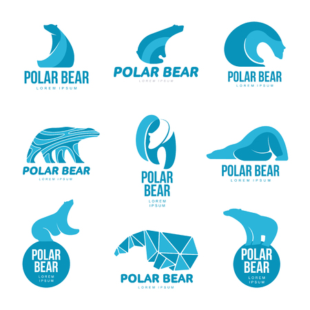 Set of stylized graphic polar bear logo templates. Collection of creative polar bear logotype templates, growth, development, power concept. Vector illustration isolated on white background.
