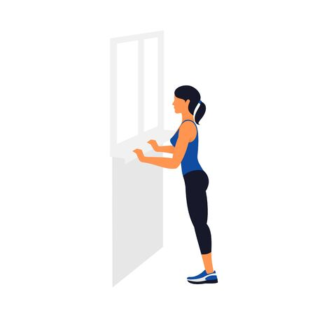Woman exercising concept at home isolated in white background.