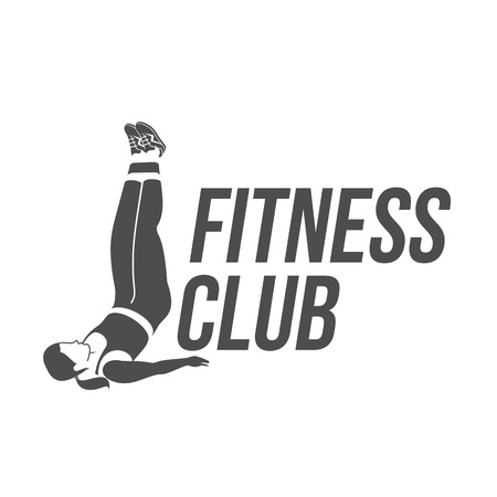 Workout logo. Fitness, Aerobic and workout exercise in gym. Vector illustration of workout logo isolated on white background. Illustration