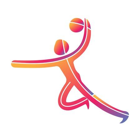 Handbal sport spel competitie icoon. Zomersport symbolen symbolen. Vector sport pictogram. Branding Identity Huisstijl sjabloon. Vectorillustratie geïsoleerd op een witte achtergrond Stock Illustratie