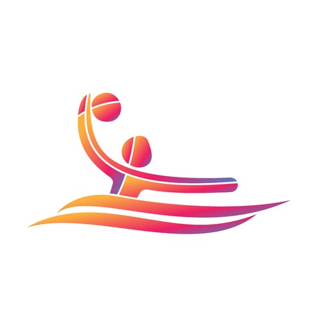 Water polo sport game competition icon. Summer sport games symbols. Vector sport pictogram. Branding Identity Corporate design template. Vector illustration isolated on a white background Illustration