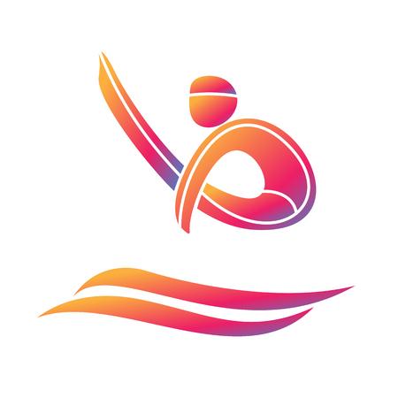 Icona di concorrenza del gioco di sport di immersione Simboli di giochi sportivi estivi. Vettore pittogramma sport. Branding Identity Corporate design template. Illustrazione vettoriale isolato su uno sfondo bianco