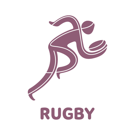 Rugby sport game competition icon. Summer sport games symbols. Vector sport pictogram. Branding Identity Corporate  design template. Vector illustration isolated on a white background