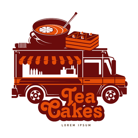 Food truck tea and cakes  vector illustration. Vintage style badges and labels design concept for confectionery and food delivery service vehicles. Isolated on a white background