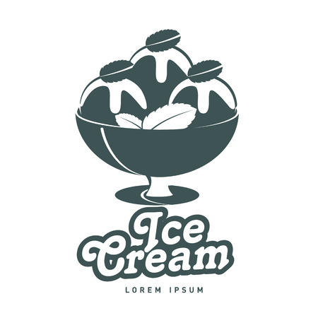 Ice cream  design vector template. Vintage style badges and labels design concept for confectionery. Vector illustration isolated on a white background