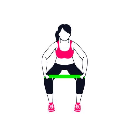 Workout with mini band. Fitness, Aerobic and workout exercise in gym. Illustration