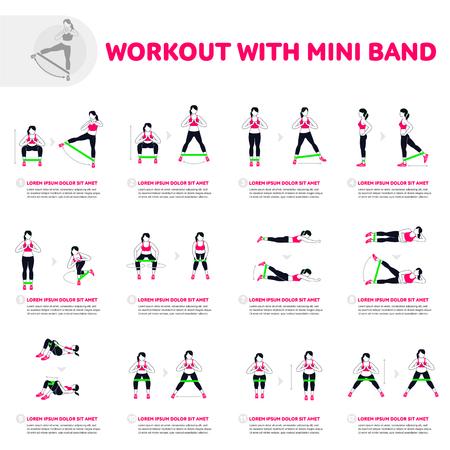 Trening z mini bandą. Fitness, aerobik i ćwiczenia na siłowni. Wektor zestaw ikon siłowni w płaski na białym tle. Ludzie na siłowni. Wyposażenie siłowni.