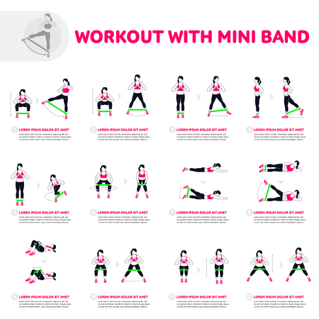 Workout with mini band. Fitness, Aerobic and workout exercise in gym. Vector set of gym icons in flat style isolated on white background. People in gym. Gym equipment. 矢量图像